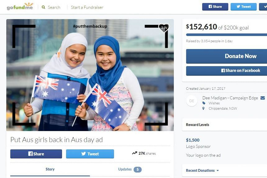 A Gofundme campaign to reinstate the advertisement received received more than A$140,000 in pledges.
