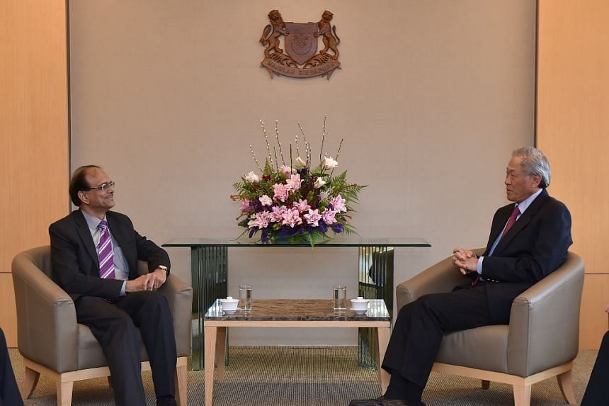 India's High Commissioner to Singapore Jawed Ashraf call on Minister for Defence Ng Eng Hen at the Ministry of Defence.