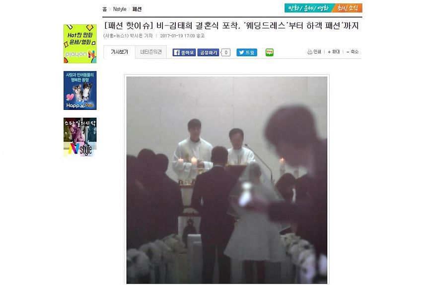 A screengrab reportedly showing South Korean stars Rain and Kim Tae Hee getting married, in a church in Seoul on Jan 19, 2017.