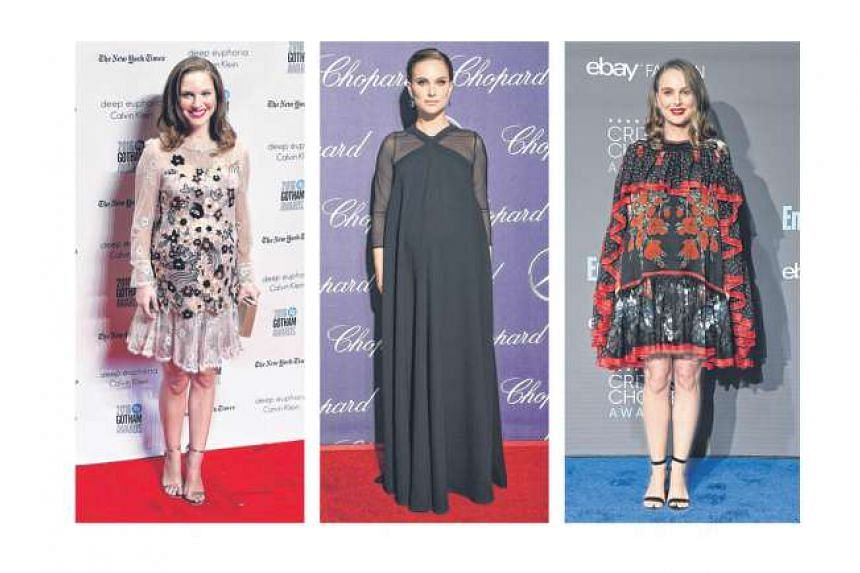 Portman in a lace dress with sequin flowers at the Gotham Independent Film Awards (left), She wore an A-line Dior gown to the Palm Springs International Film Festival (centre) and she was dressed in Alexander McQueen at the Critics' Choice Awards (