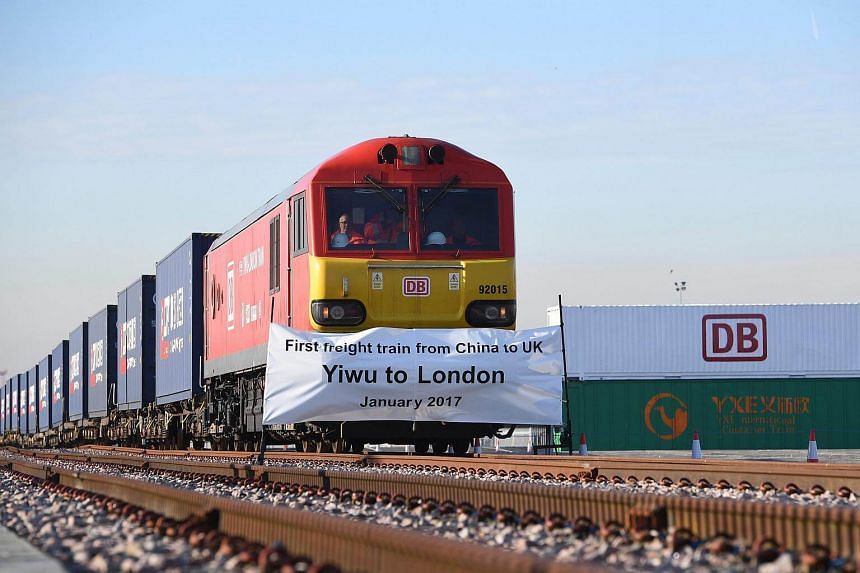 The first direct freight train from China to the UK arrives in Barking in London, Britain.
