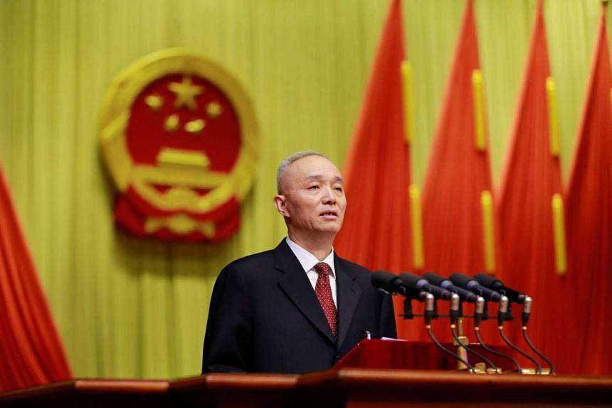 Beijing mayor Cai Qi speaks at the opening of the Beijing People's Congress on Jan 14, 2017.