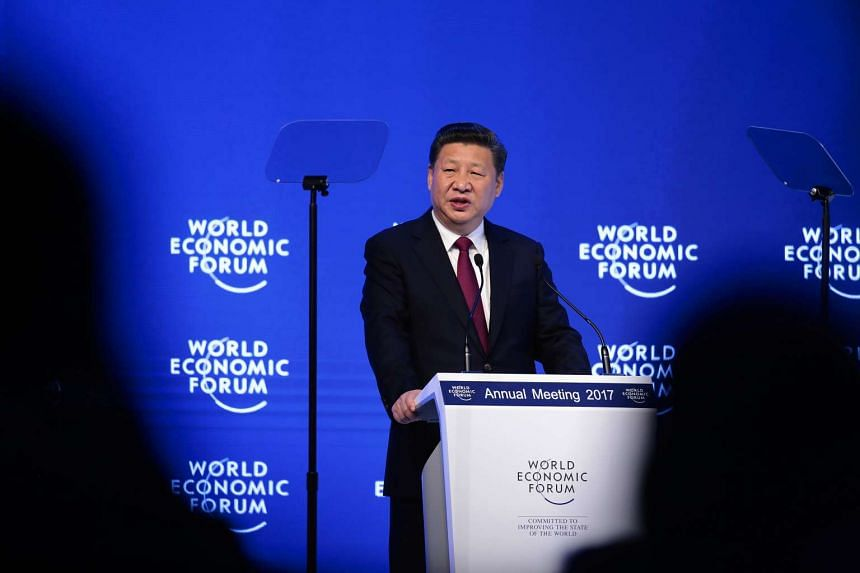 Xi Jinping speaks during the opening plenary session of the World Economic Forum on Jan 17, 2017.