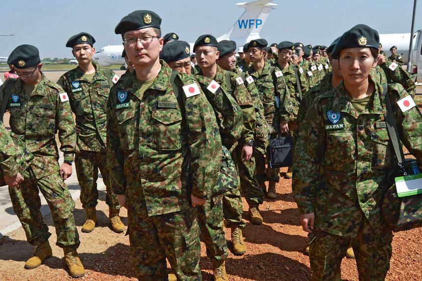 Members of the Japanese Ground Self-Defence Force at the airport in Juba, South Sudan, on Nov 21, 2016.