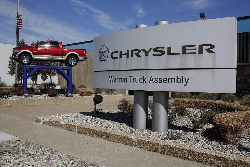 A Dodge Ram 1500 pickup truck is displayed outside of the Fiat Chrysler Automobiles NV Warren truck assembly plant in Warren, Michigan, US.