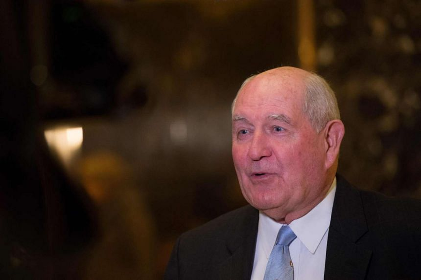 This file photo taken on Nov 30, 2016 shows Former Georgia governor Sonny Perdue as he speaks to the media in the lobby of Trump Tower in New York, after meetings with US President-elect Donald Trump.