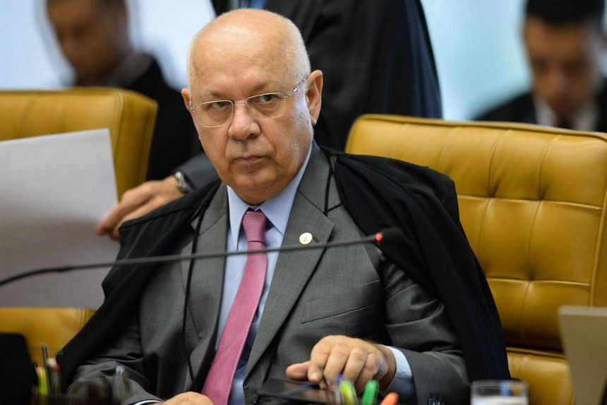 Brazil's Supreme Federal Court Minister Teori Zavascki is depicted during the March 31, 2016 session in Brasilia.