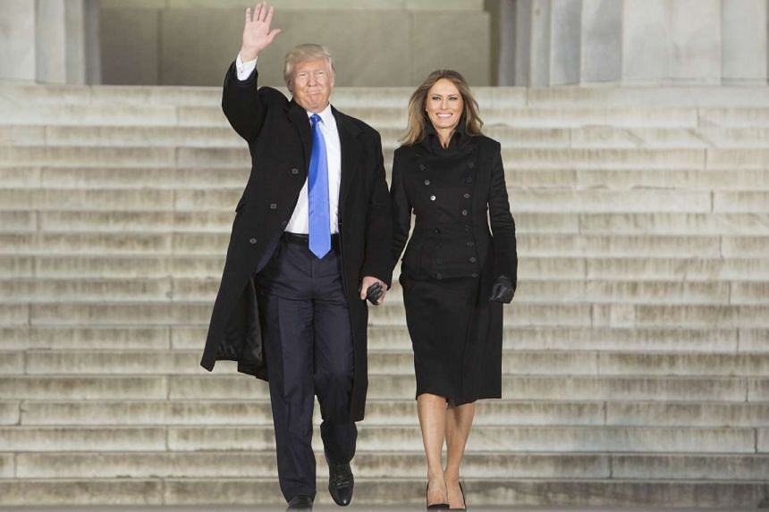 "President-elect Donald Trump and his wife Melania arrive at the ""Make America Great Again"" Welcome Celebration concert at the Lincoln Memorial in Washington on Jan 19, 2017."