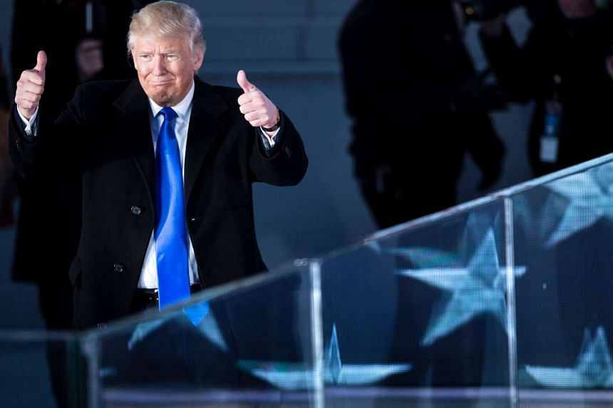 Donald Trump gestures during a welcome celebration at the Lincoln Memorial in Washington, DC.