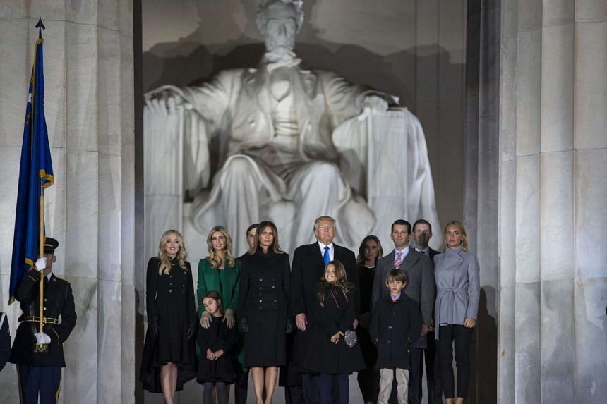 Donald Trump and his family atop the steps of the Lincoln Memorial at a welcome concert on the eve of inauguration.