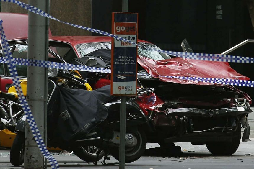 The wreckage of the car that hit pedestrians in central Melbourne, Australia on Jan 20, 2017.