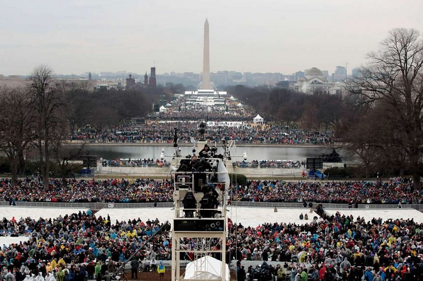 Spectaors begin to fill the National Mall l on Jan 19, 2017 in Washington, DC.