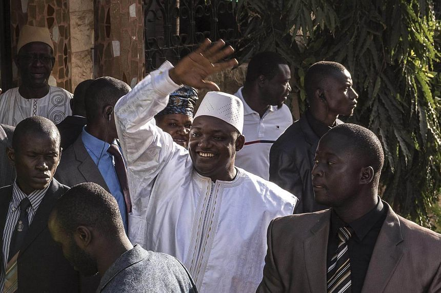 Adama Barrow, Gambia's newly elected president, after his swearing-in ceremony at the Gambian Embassy in Dakar, Senegal.