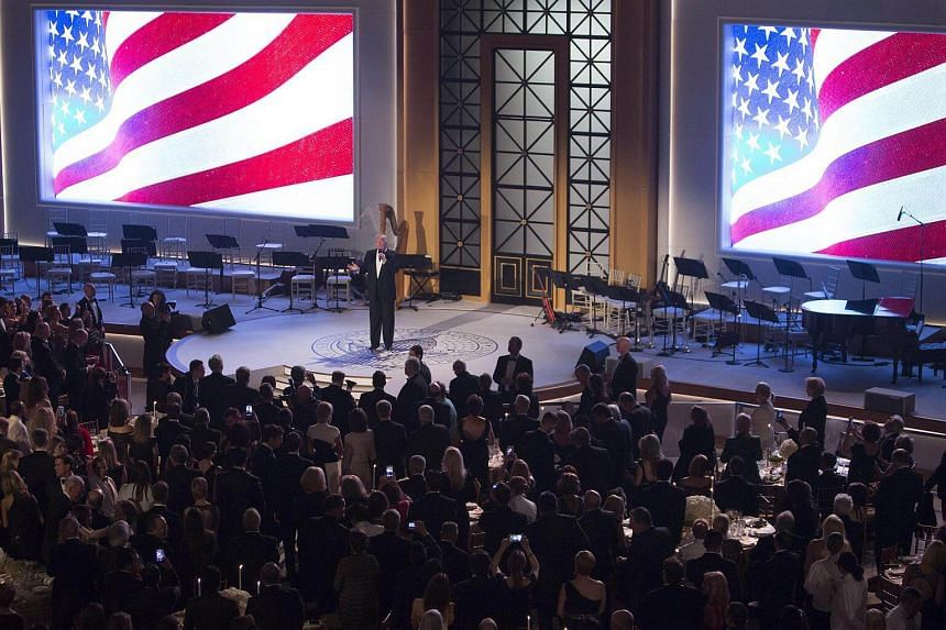 US President-elect Donald Trump speaks during the candlelight dinner at Union Station in Washington, DC, US, on Jan 19, 2017.