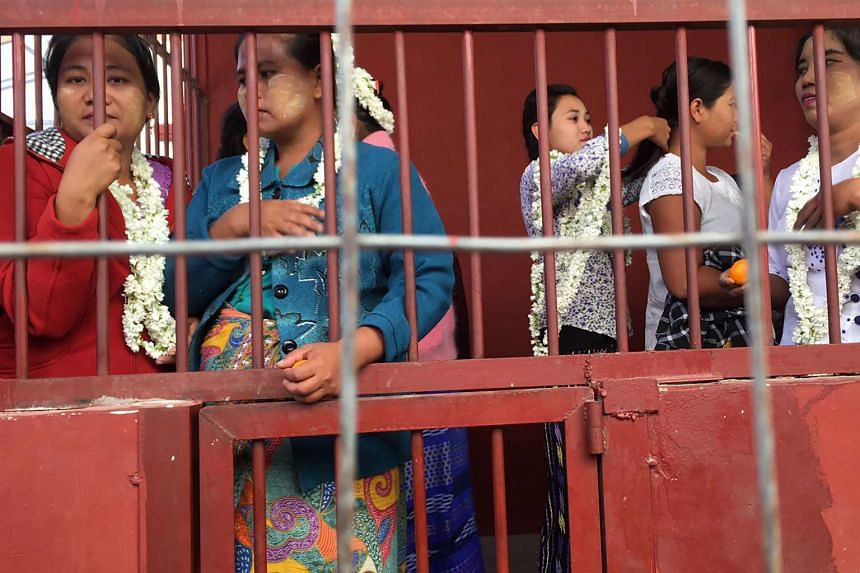 Detained farmers in a holding cell at a courthouse in Sintgaing in Mandalay region, Myanmar, on Jan 10, 2017.
