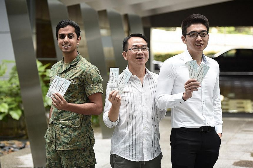 ST readers (from far left) Arush Taneja, Yam Guan Shyh and Chng Hu Ping have won a pair of tickets each to Laneway Festival.