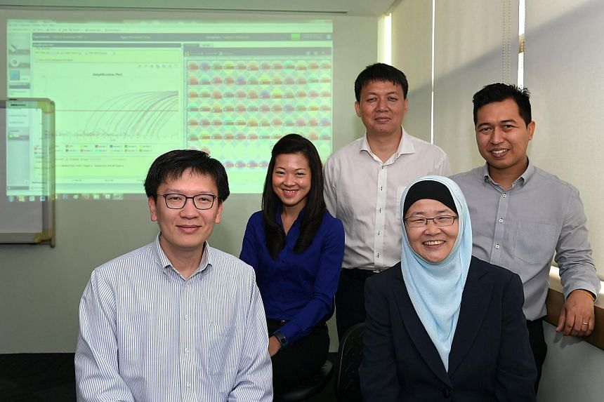 (From left) Team leader and principal research scientist Tan Min-Han, laboratory officer Jess Vo, senior research scientist Hu Min, IBN executive director Jackie Ying and senior laboratory officer Wai Min Phyo.