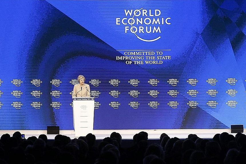 British Prime Minister Theresa May said she believed strongly in a rules-based global order, in a speech at the World Economic Forum annual meeting in Davos, Switzerland, yesterday.