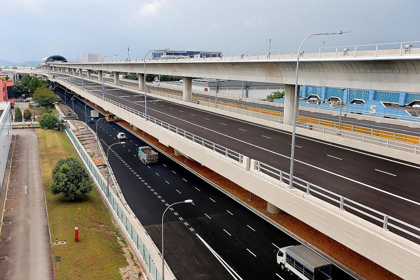 The Tuas Viaduct stretches 4.8km from Tuas Road to Tuas West Road, with a 2.4km stretch of the upcoming Tuas West MRT extension running 9m above it.