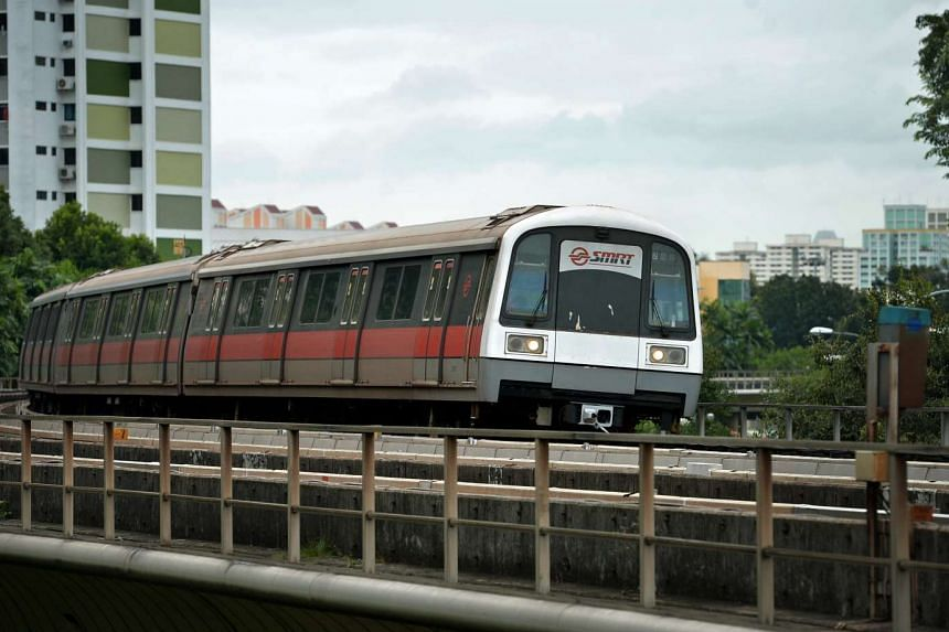An SMRT train travelling along the North-South line between Bishan and And Mo Kio stations.