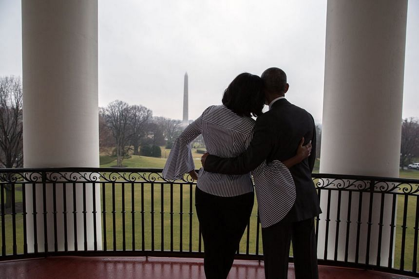 Michelle Obama shared a photo of the couple enjoying the views from the White House's Truman balcony.