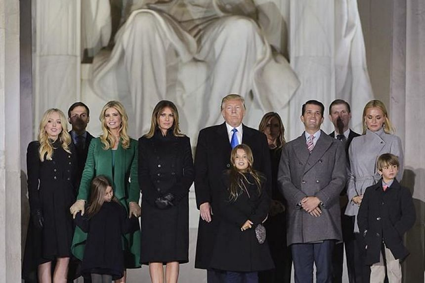 Donald Trump and family at Lincoln Memorial on pre-inauguration day.