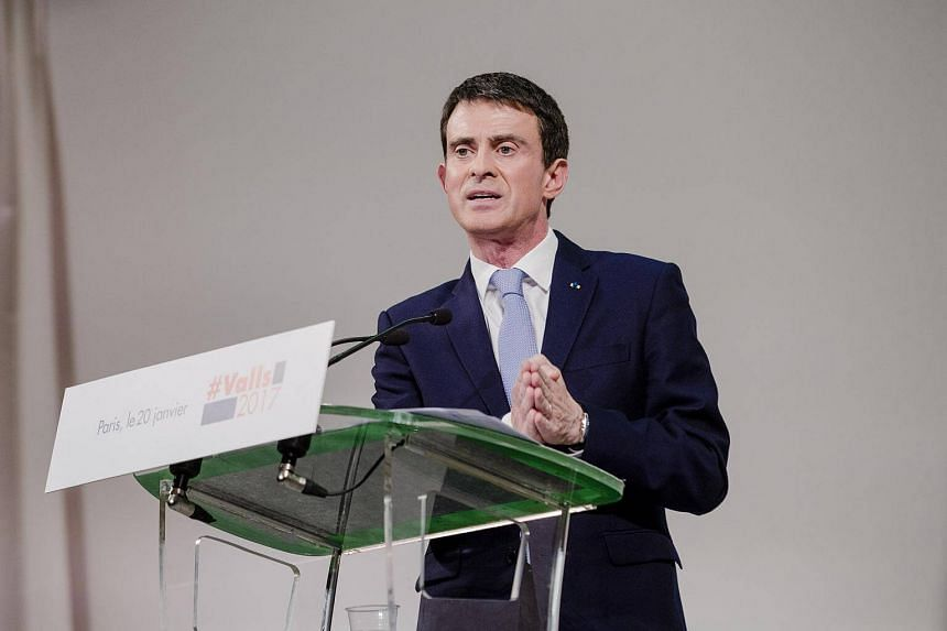 Mr Manuel Valls, France's former prime minister and Socialist Party presidential candidate, speaks during a campaign event in Paris, France, on Jan 20, 2017.