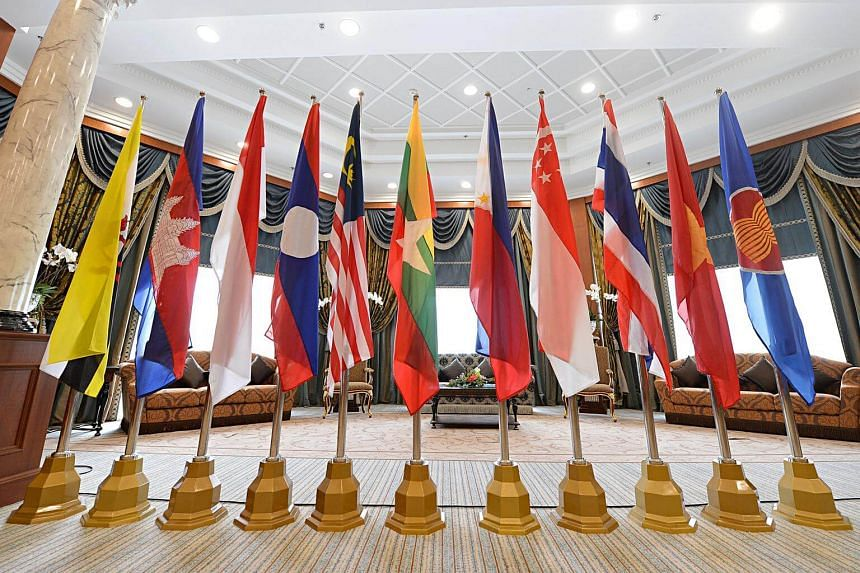Flags of the states which are also Asean members displayed in a conference room at the Prime Minister's Office (PMO) Building Complex in Bandar Seri Begawan, Brunei.