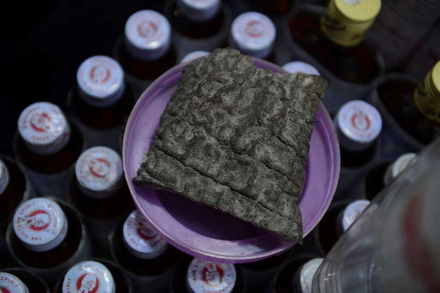 Vendors claim elephant skin can cure skin diseases like eczema.