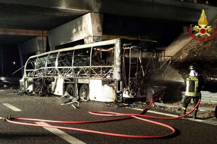 The bus carrying Hungarian teenagers crashed and caught fire on a motorway in northern Italy, killing 16 people.