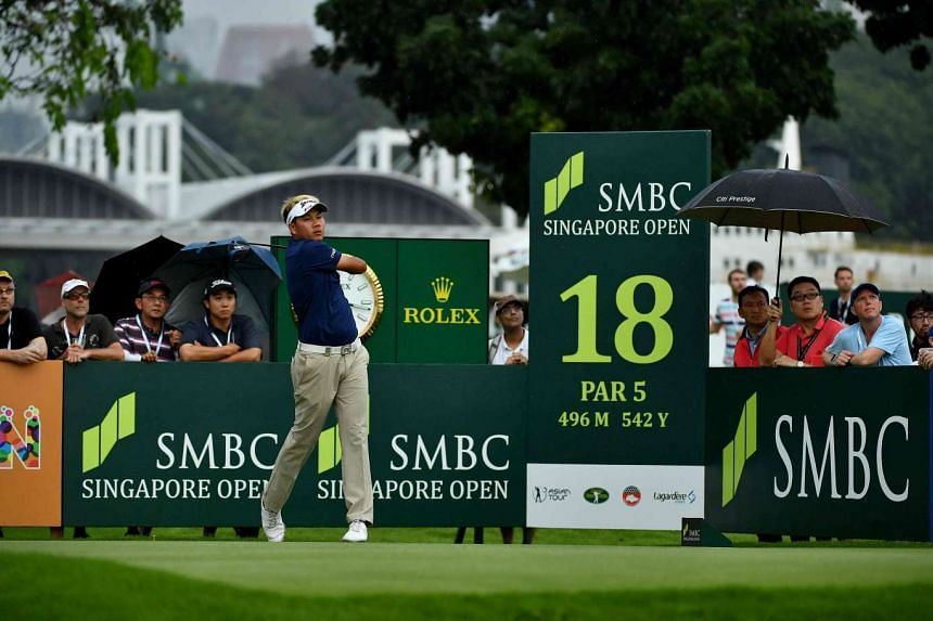 Tirawat Kaewsiribandit claimed the lead after firing a five-under 66 and was on eight-under 205 at the Sentosa Golf Club.