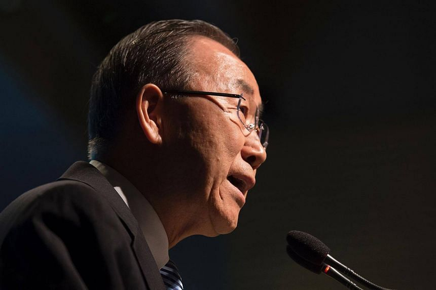 UN Secretary Ban Ki Moon delivering remarks during the IMF and World Bank Group 2016 Spring Meetings in Washington, DC.