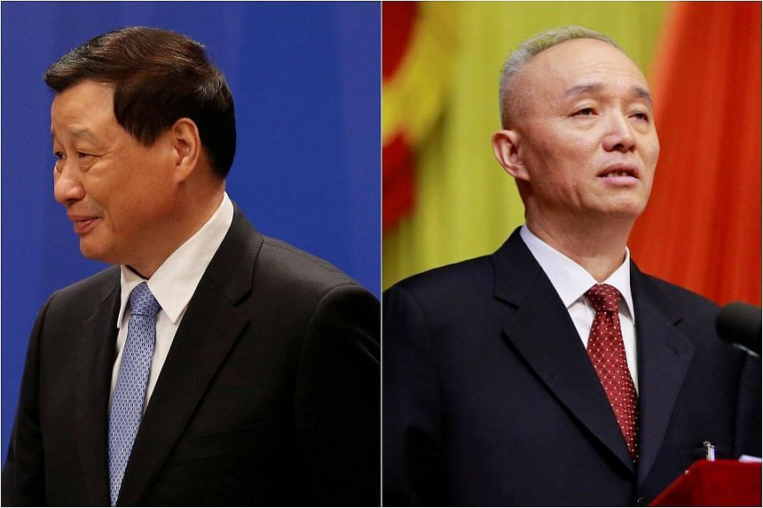 Mr Ying Yong (left) and Mr Cai Qi were appointed mayors of Shanghai and Beijing respectively yesterday (Jan 19).