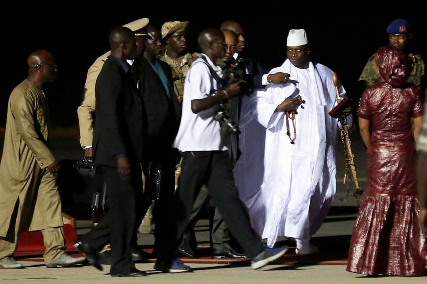 Former Gambian President Yahya Jammeh arrives at the airport before flying into exile from Gambia, on Jan 21, 2017.