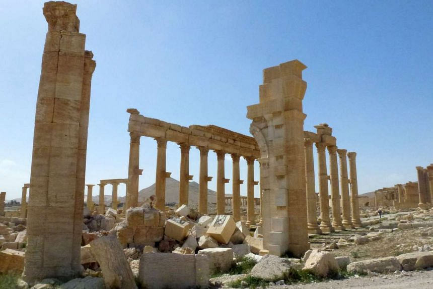 A view of the remains of Arch of Triumph, also called the Monumental Arch of Palmyra, which was destroyed by ISIS in October 2015.