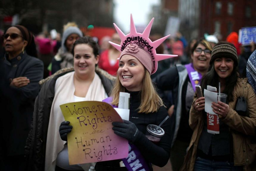Women participate in the Women's March on Washington, following the inauguration of US President Donald Trump, in Washington, Jan 21, 2017.