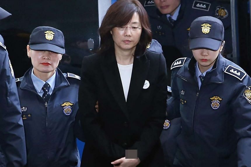 Former culture minister Cho Yoon Sun appearing at the office of the independent counsel in Seoul on Jan 22, 2017.