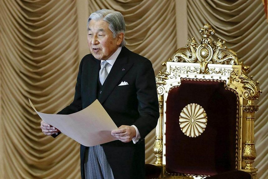Japanese Emperor Akihito delivers the opening address for the 150-day ordinary Diet session at the parliament in Tokyo, Japan, on Jan 20, 2017.
