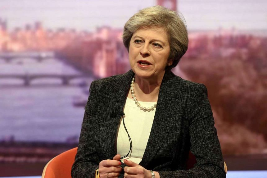 British PM Theresa May speaking during a BBC interview in London on Jan 22, 2017.