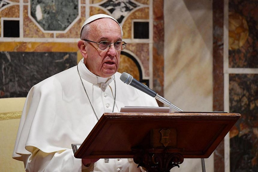 Pope Francis attends an audience with the Members of the Diplomatic Corps accredited to the Holy See for the traditional exchange of New Year greetings on Jan 9, 2017 in Vatican.