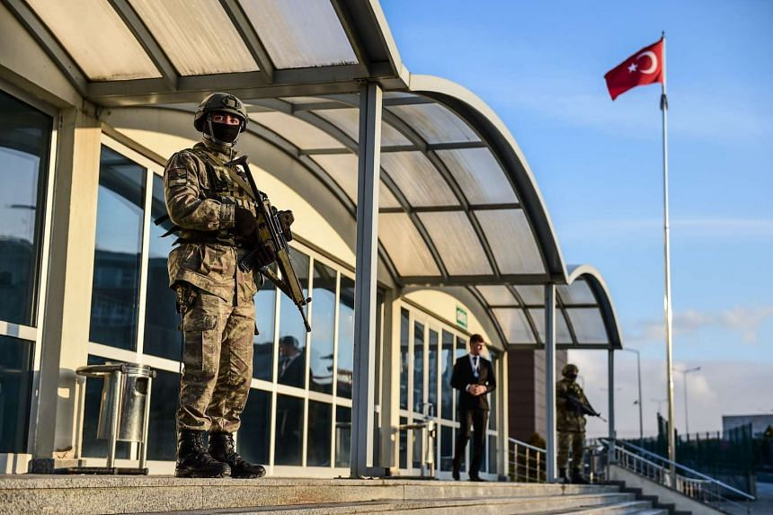 Turkish special forces stand guard at the entrance of the courthouse on Jan 23, 2017 at Silivri district in Istanbul.