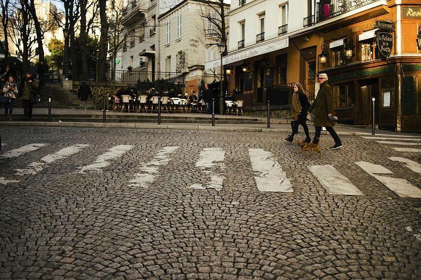 A cobblestone road in Paris.