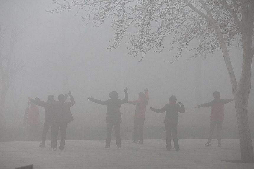 People exercising in the smog on a polluted day in Zhengzhou, Henan province, earlier this month. Lawyer Yu Wensheng hopes that filing lawsuits against the authorities over China's bad air will keep the issue in the public eye.