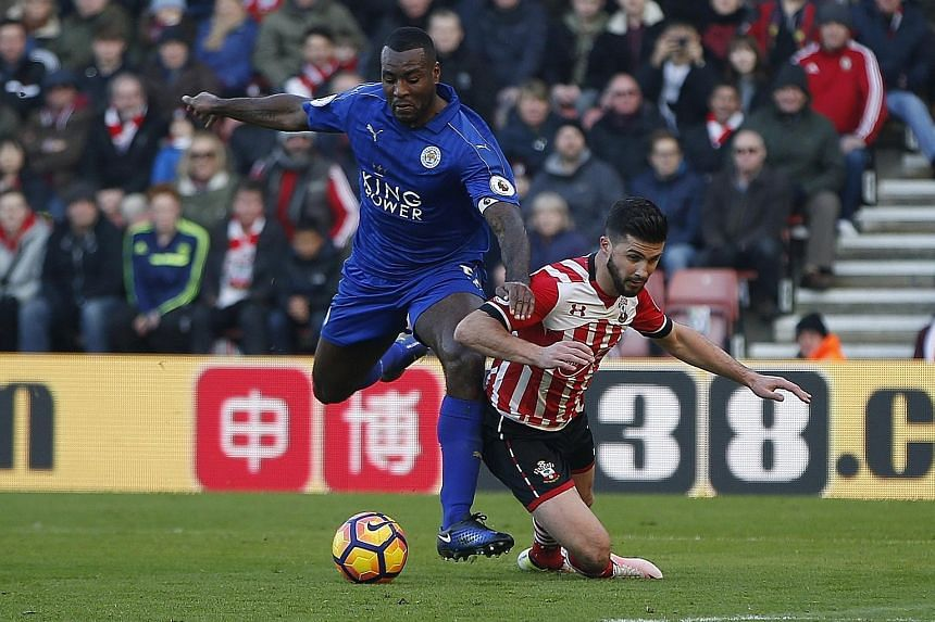 Leicester's Wes Morgan hauls down Southampton's Shane Long in the box, resulting in an 86th-minute penalty to the home side that was converted by Dusan Tadic. James Ward-Prowse (26th) and Jay Rodriguez (39th) were Southampton's other scorers as they