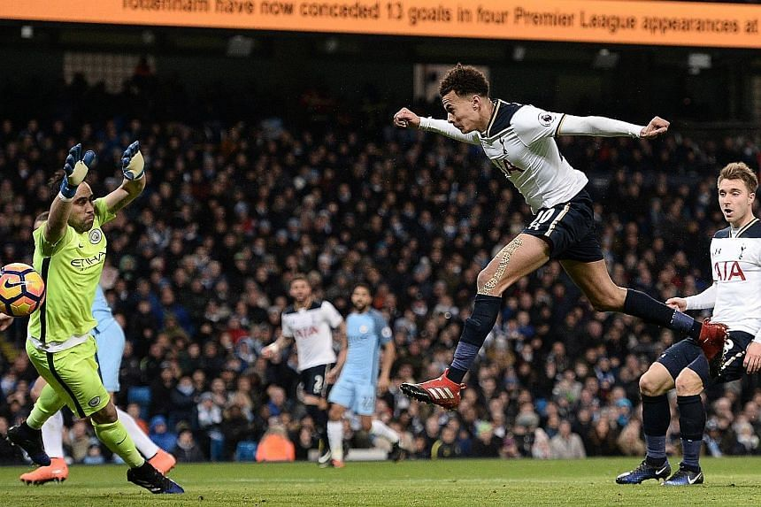 Dele Alli heading past Manchester City goalkeeper Claudio Bravo to pull one back for Tottenham and set the North London side on their way to earning a point. It was the midfielder's 11th goal of the season.