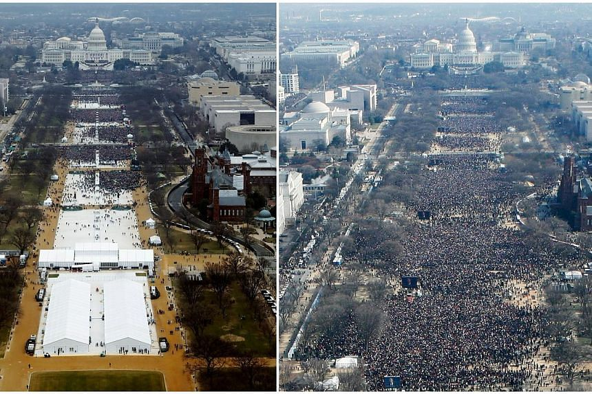 A combination of photos taken at the National Mall shows the crowds at the inauguration ceremonies of Mr Trump last Friday (left) and then President Barack Obama on Jan 20, 2009. About 1.8 million people flooded the area in 2009 when Mr Obama was fir