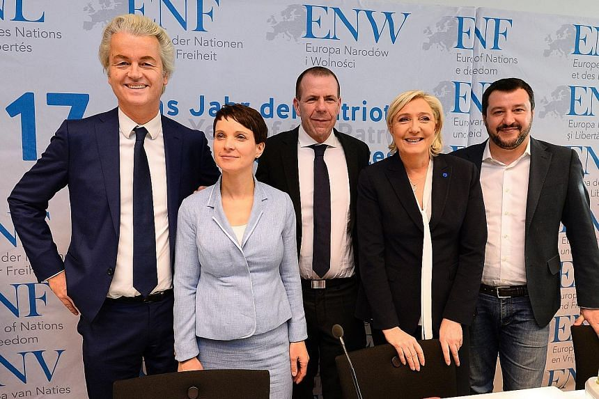 Ms Le Pen (second from right), leader of the French National Front party, at a gathering of European right-wing parties in Koblenz, western Germany, on Saturday. With her are (from left) Mr Wilders, leader of the Dutch Freedom Party; Dr Petry, chairm