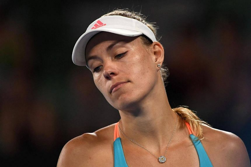 Germany's Angelique Kerber reacting after a point against Coco Vandeweghe of the US during their women's singles fourth round match on day seven of the Australian Open tennis tournament, on Jan 22, 2017.