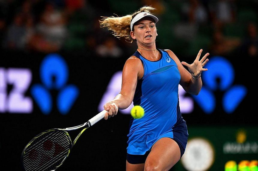 Coco Vandeweghe in action during her Women's Singles fourth round match against Angelique Kerber at the Australian Open Grand Slam tennis tournament, on Jan 22, 2017.
