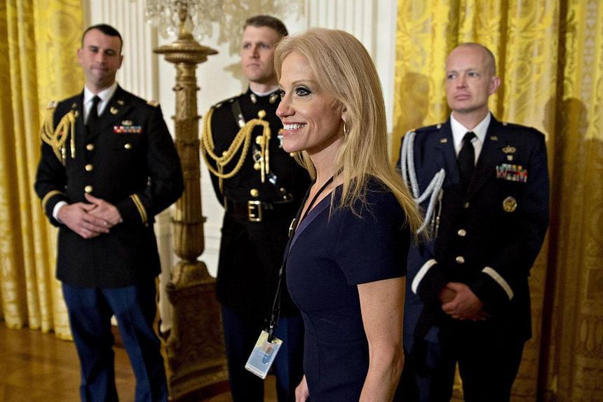 Mr Trump's counsellor Kellyanne Conway, arriving to a swearing-in ceremony of White House senior staff in Washington, DC, on Jan 22, 2017.